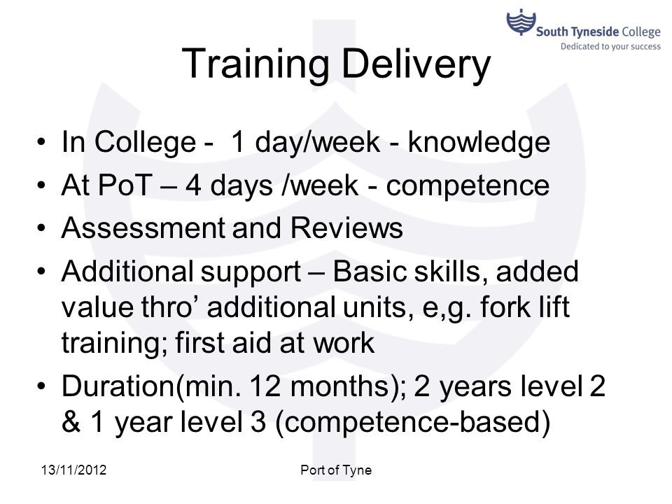Training Delivery In College - 1 day/week - knowledge