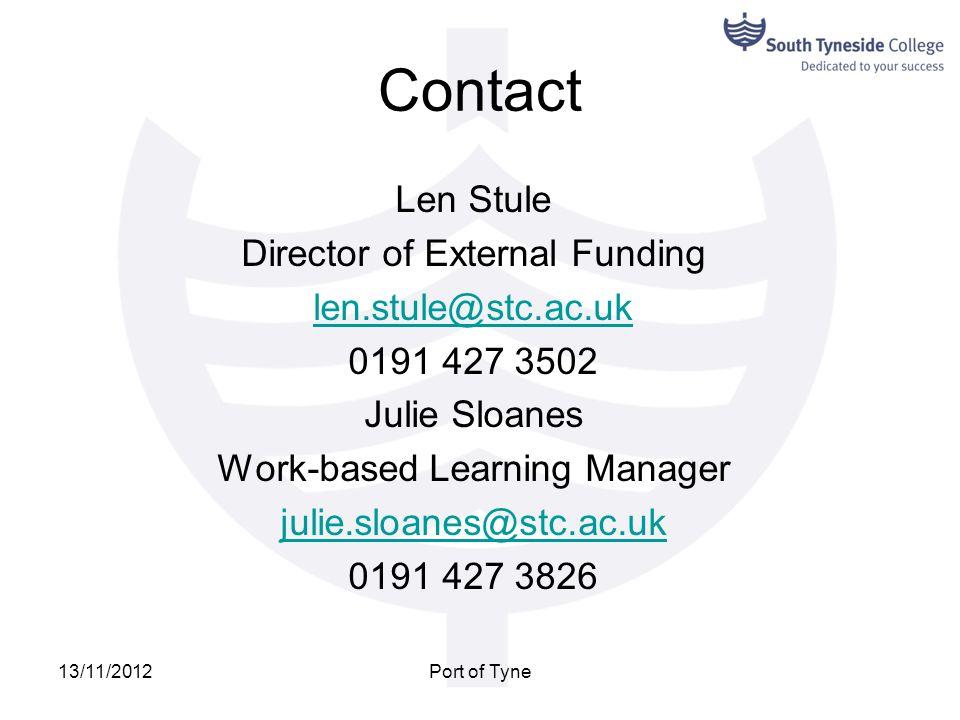 Contact Len Stule Director of External Funding len.stule@stc.ac.uk