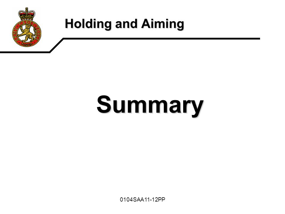 Holding and Aiming Summary 0104SAA11-12PP