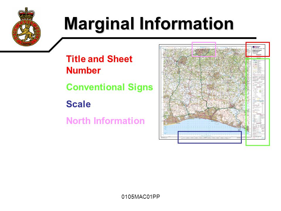 Marginal Information Title and Sheet Number Conventional Signs Scale