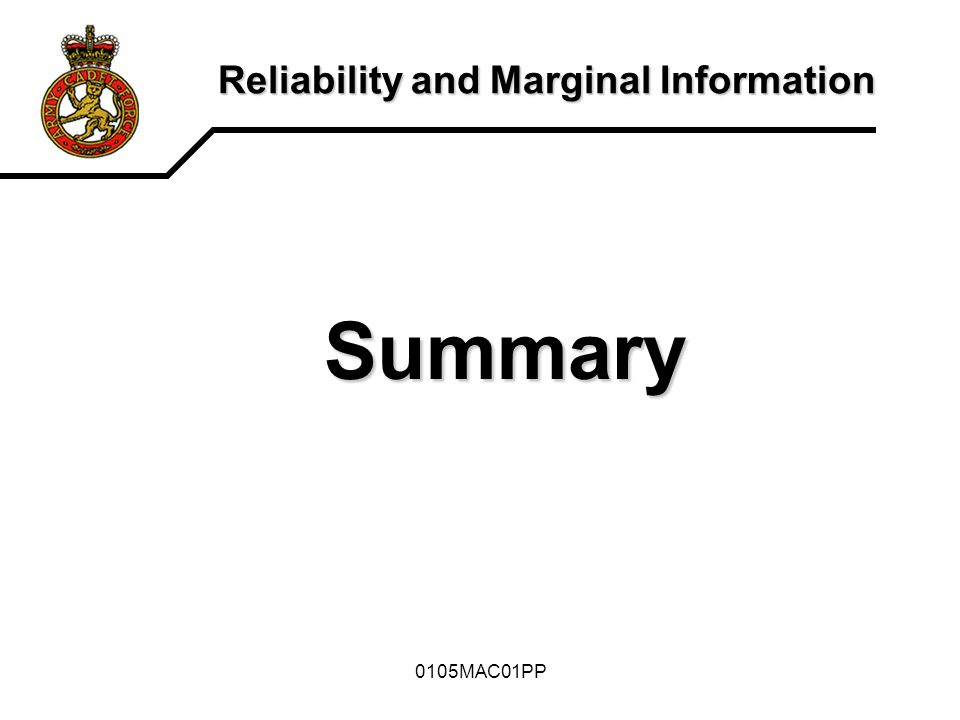 Reliability and Marginal Information