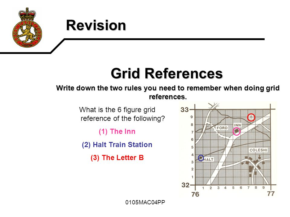 What is the 6 figure grid reference of the following