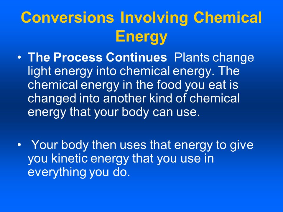 Conversions Involving Chemical Energy