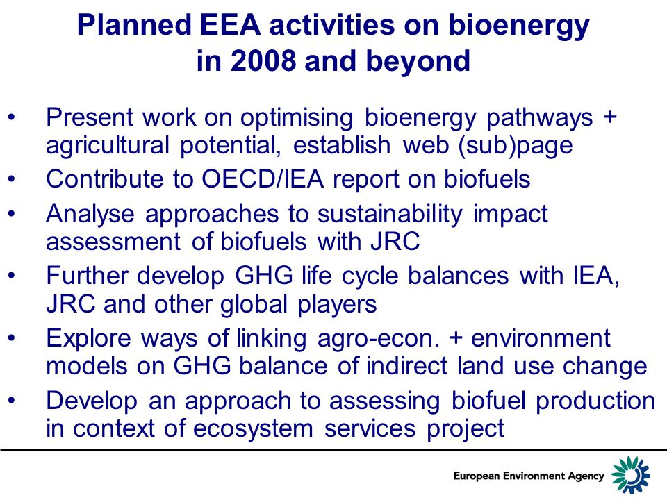 Planned EEA activities on bioenergy in 2008 and beyond