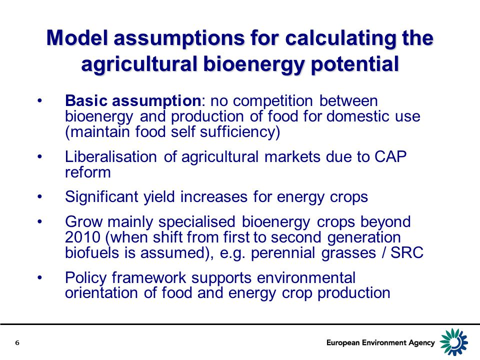 Model assumptions for calculating the agricultural bioenergy potential