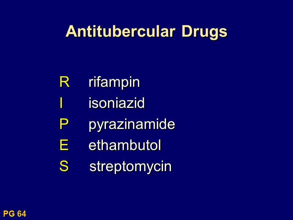 Antitubercular Drugs R rifampin I isoniazid P pyrazinamide