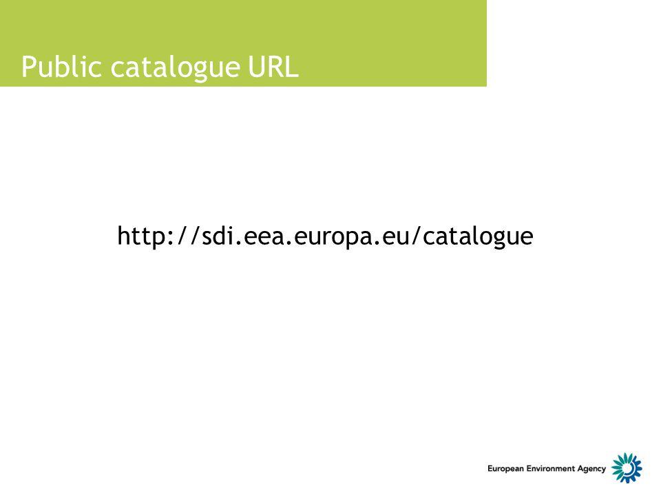 Public catalogue URL http://sdi.eea.europa.eu/catalogue 10