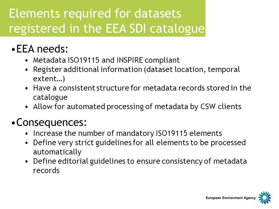 Elements required for datasets registered in the EEA SDI catalogue