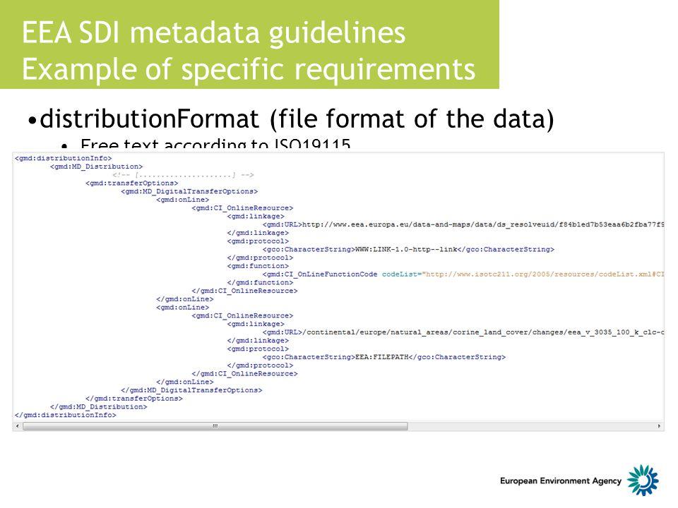 EEA SDI metadata guidelines Example of specific requirements