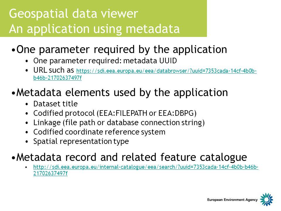 Geospatial data viewer An application using metadata