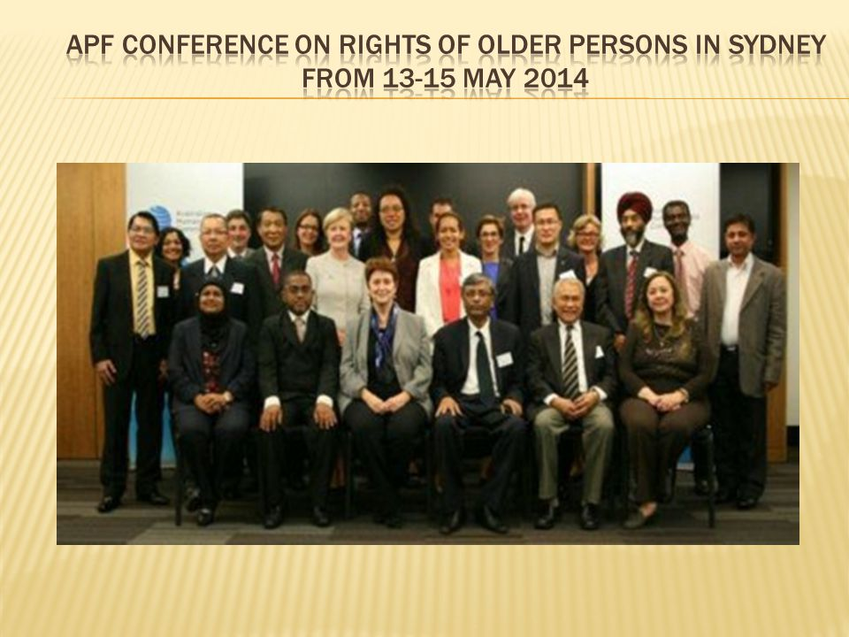 APF Conference on Rights of Older Persons in Sydney from 13-15 May 2014