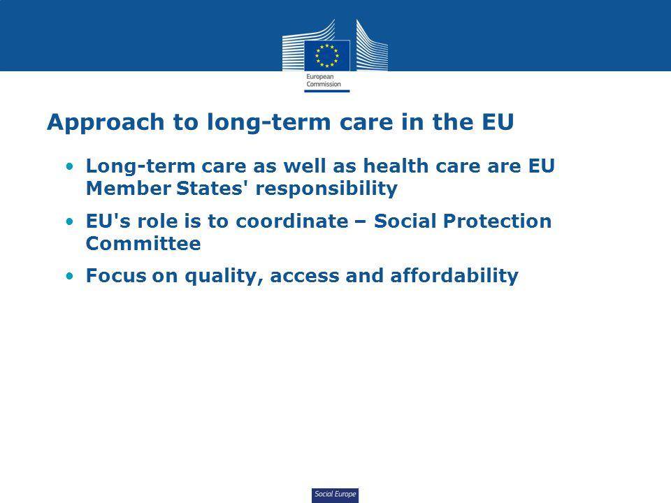 Approach to long-term care in the EU