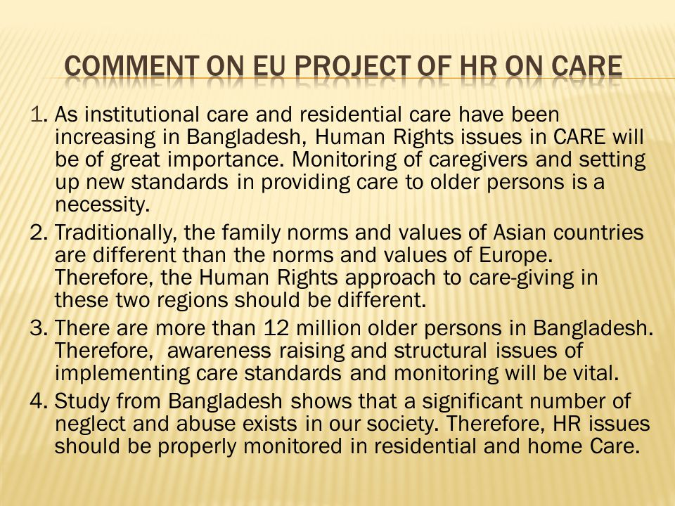 Comment on EU project of hr on care