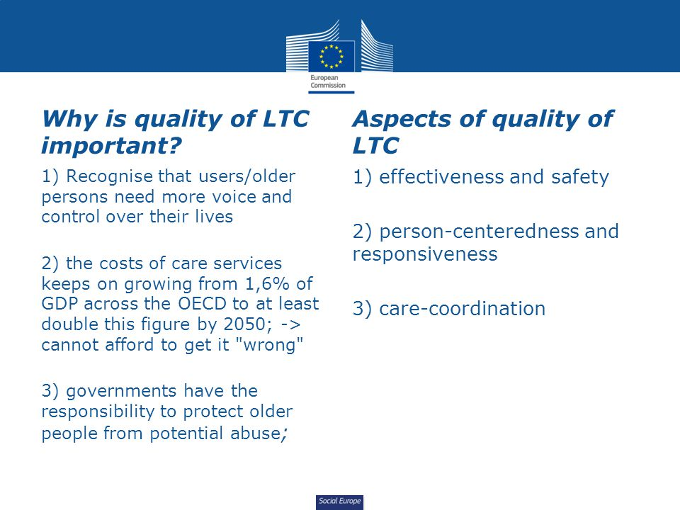 Why is quality of LTC important Aspects of quality of LTC