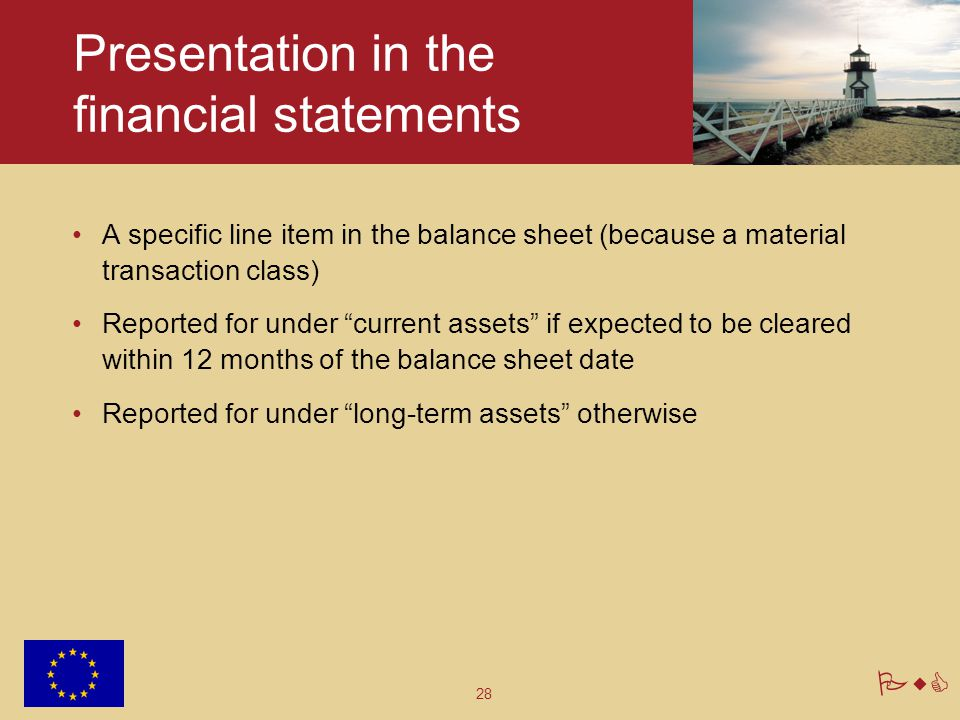 Presentation in the financial statements