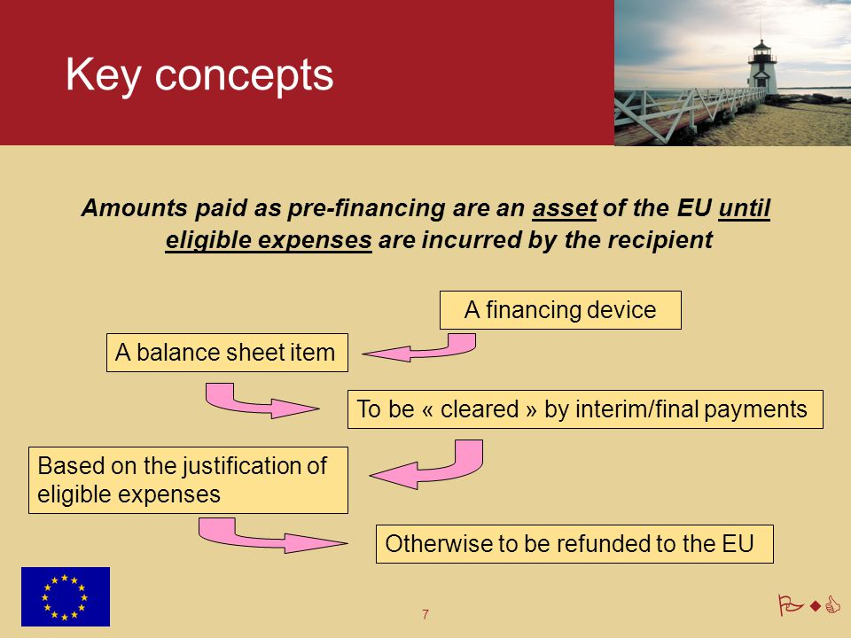Key concepts Amounts paid as pre-financing are an asset of the EU until eligible expenses are incurred by the recipient.