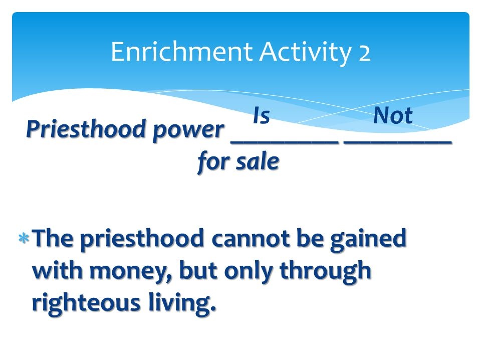 Priesthood power ________ ________ for sale