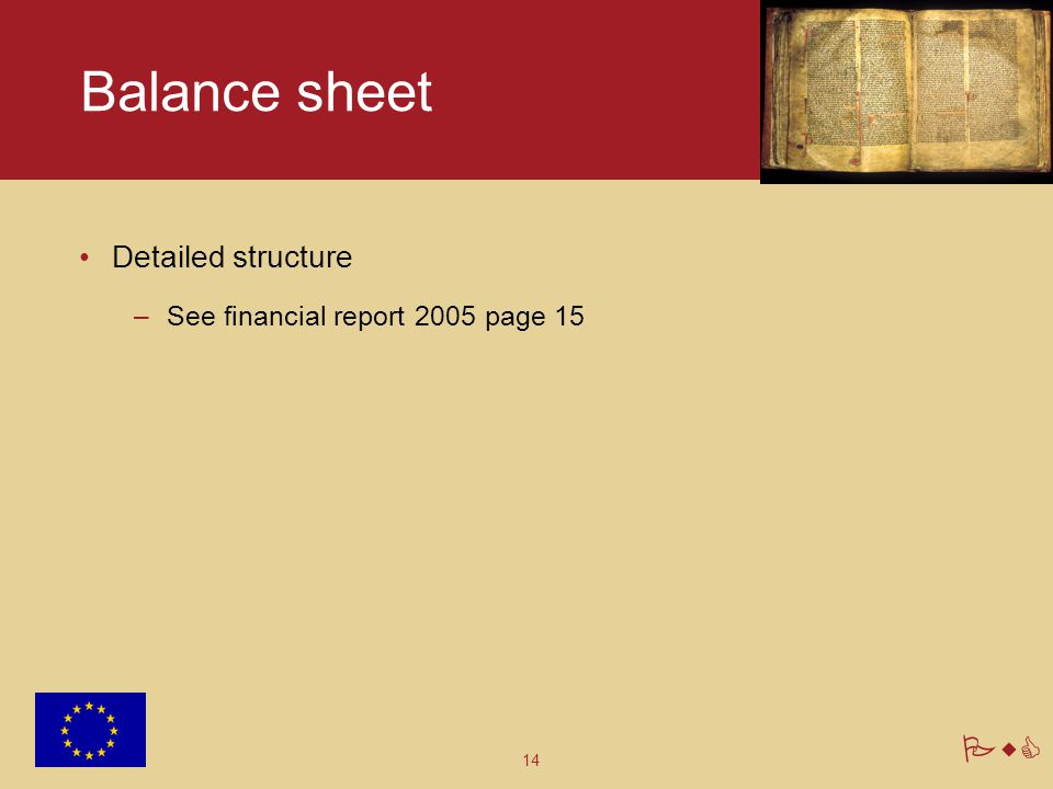 Balance sheet Detailed structure See financial report 2005 page 15