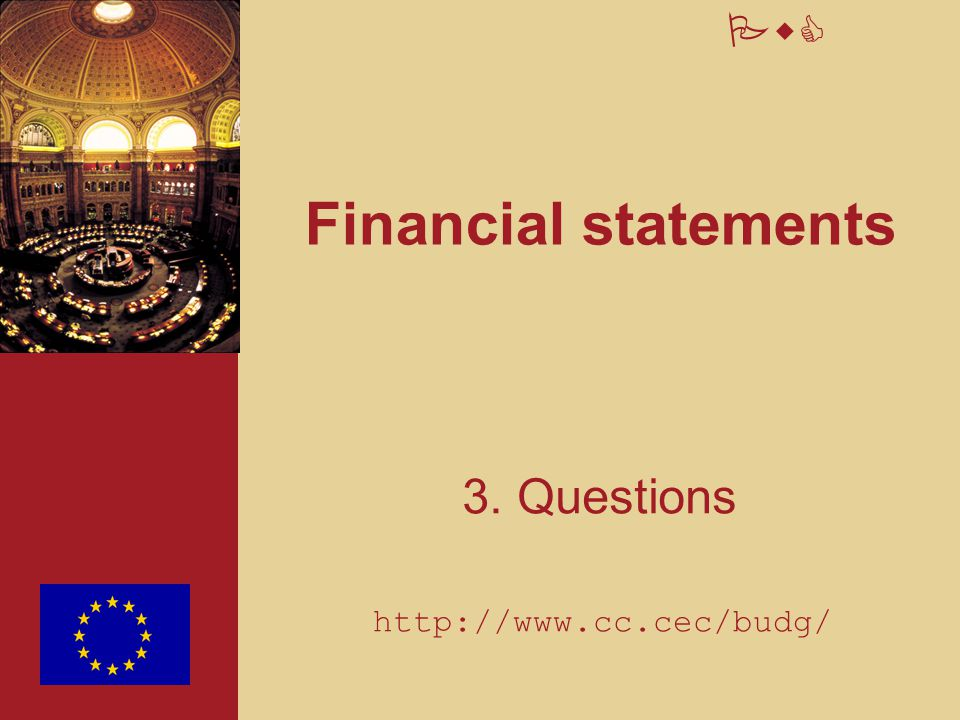 Financial statements 3. Questions http://www.cc.cec/budg/