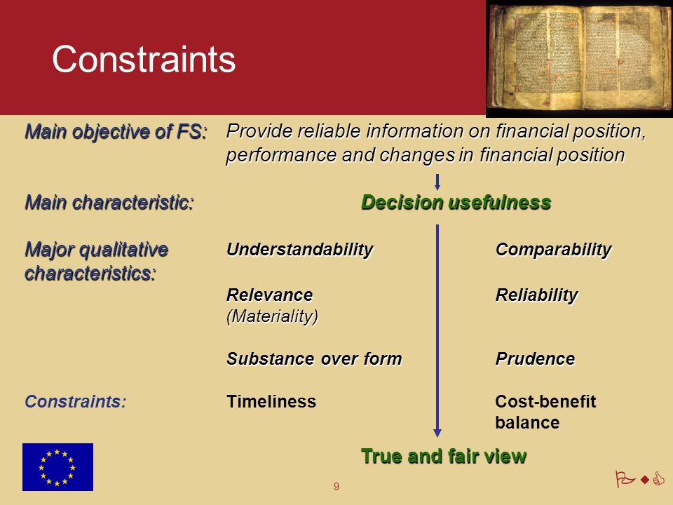 Constraints Main objective of FS: Provide reliable information on financial position, performance and changes in financial position.