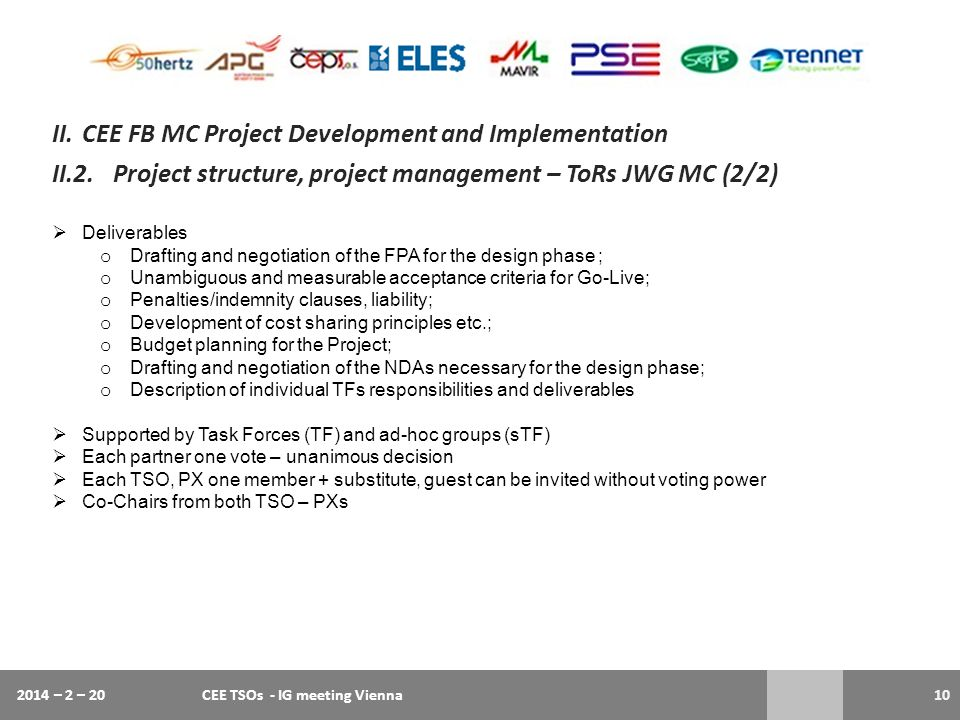 II. CEE FB MC Project Development and Implementation