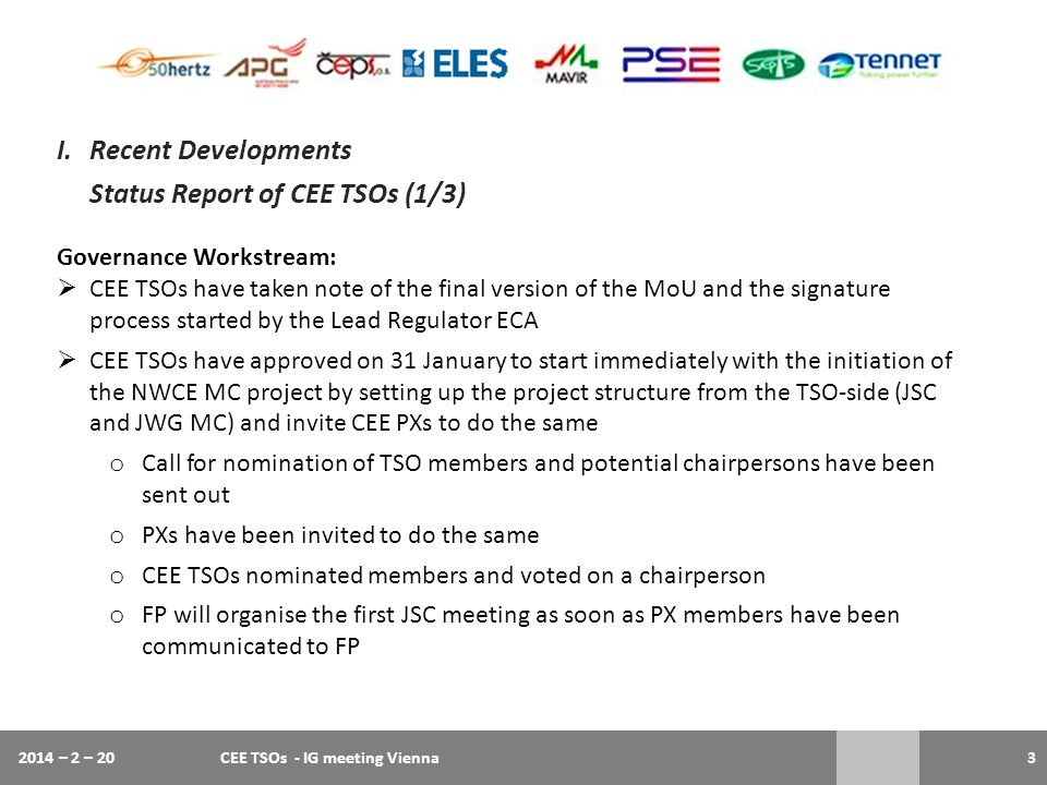 Status Report of CEE TSOs (1/3)