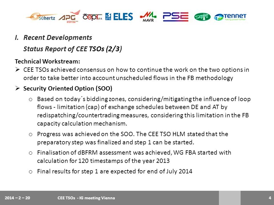 Status Report of CEE TSOs (2/3)