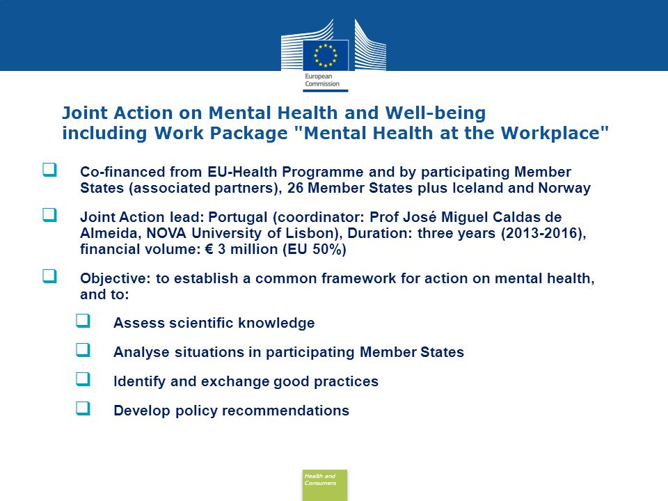 Joint Action on Mental Health and Well-being including Work Package Mental Health at the Workplace