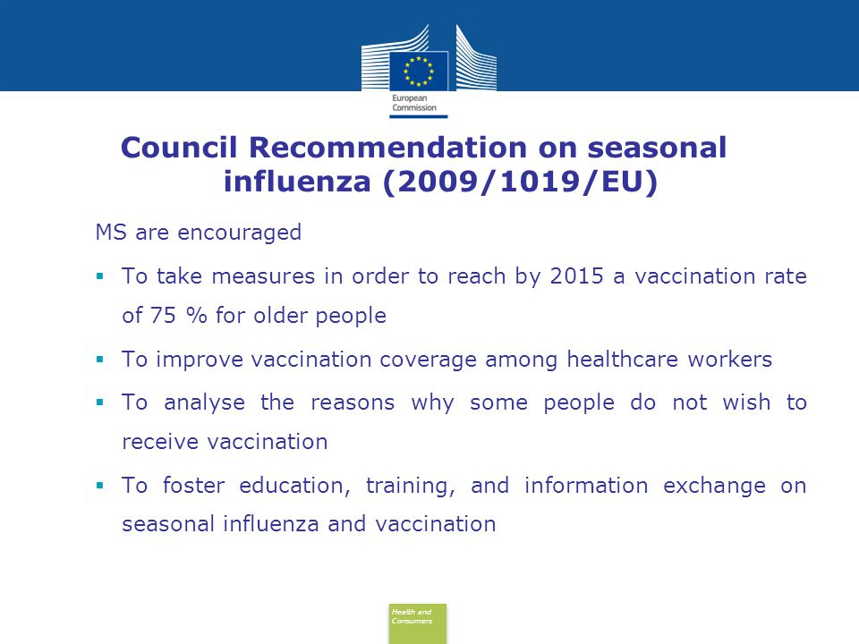 Council Recommendation on seasonal influenza (2009/1019/EU)
