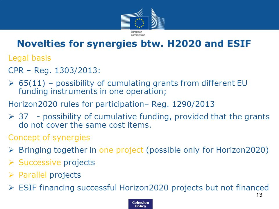 Novelties for synergies btw. H2020 and ESIF