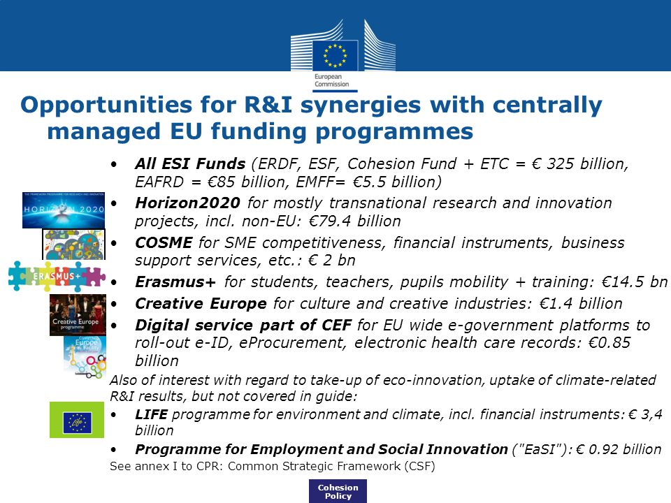 Opportunities for R&I synergies with centrally managed EU funding programmes