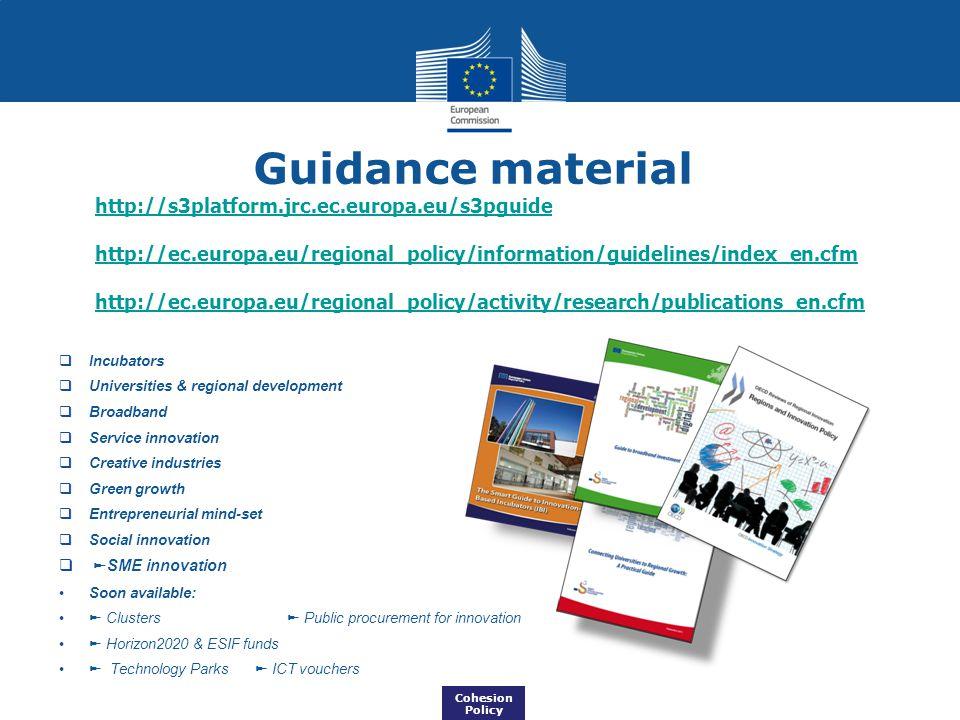 Guidance material http://s3platform.jrc.ec.europa.eu/s3pguide