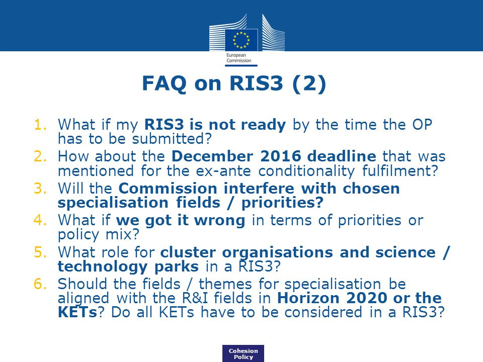 FAQ on RIS3 (2) What if my RIS3 is not ready by the time the OP has to be submitted
