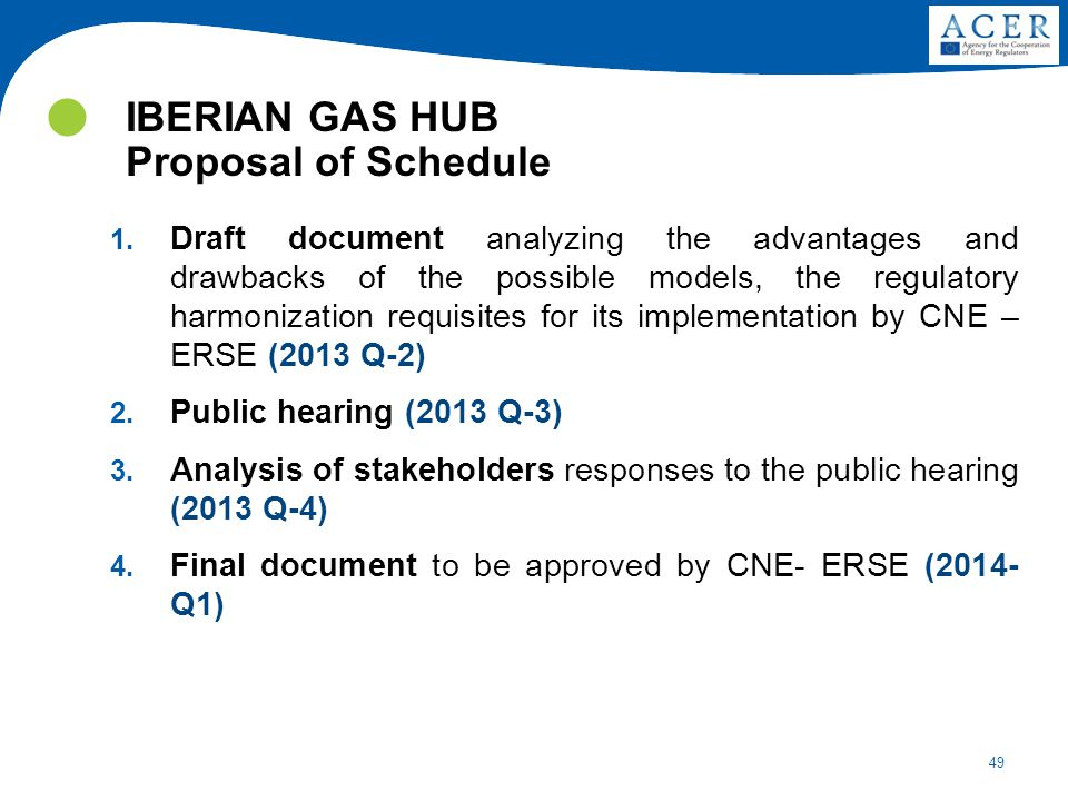 IBERIAN GAS HUB Proposal of Schedule