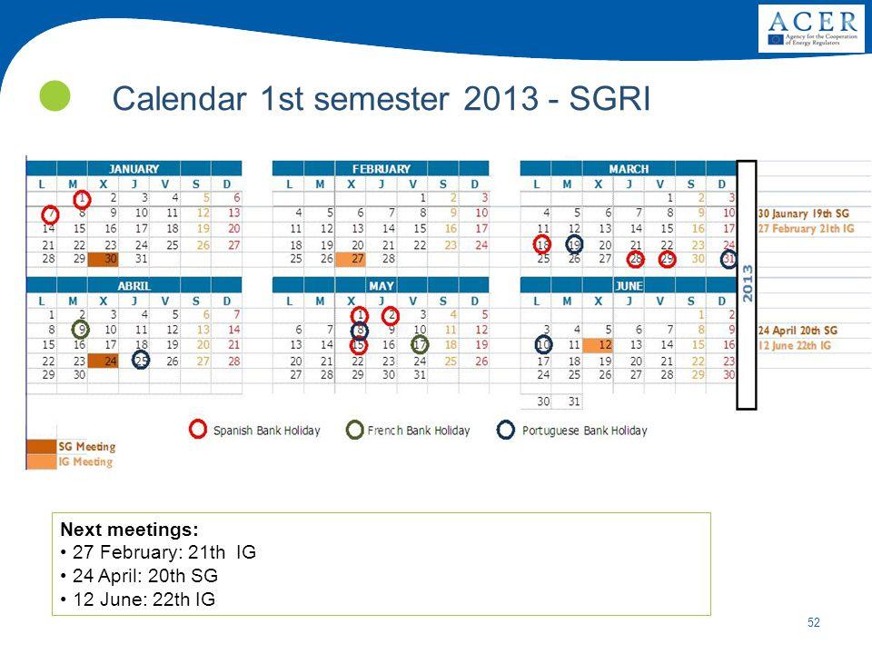 Calendar 1st semester 2013 - SGRI