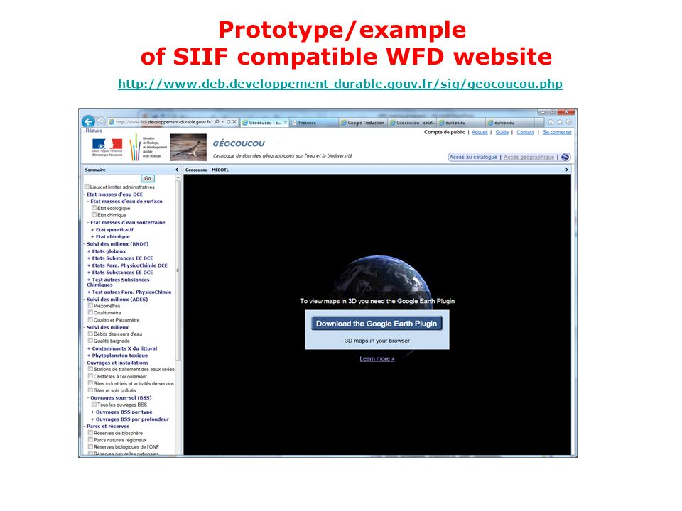 of SIIF compatible WFD website