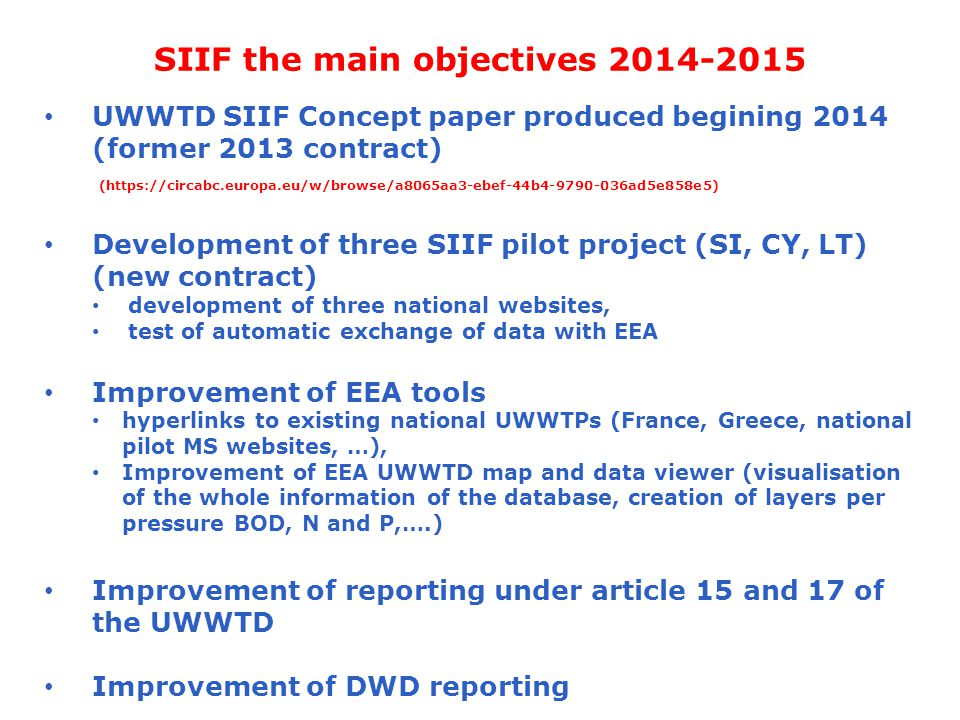 SIIF the main objectives 2014-2015