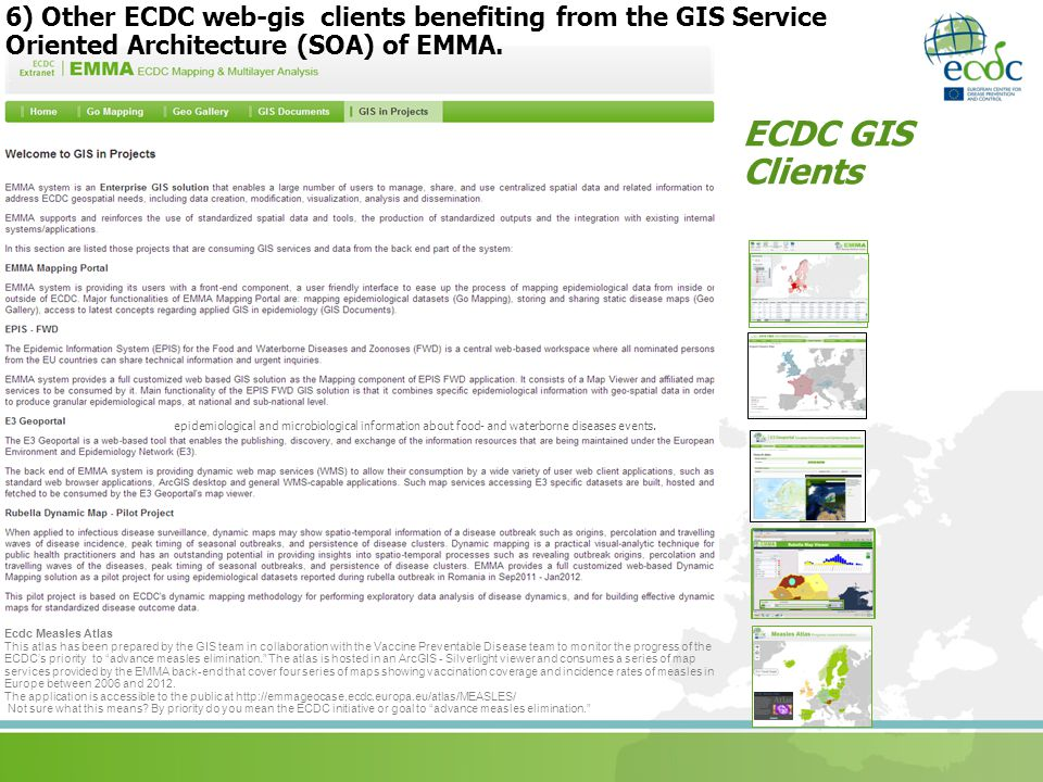 6) Other ECDC web-gis clients benefiting from the GIS Service Oriented Architecture (SOA) of EMMA.