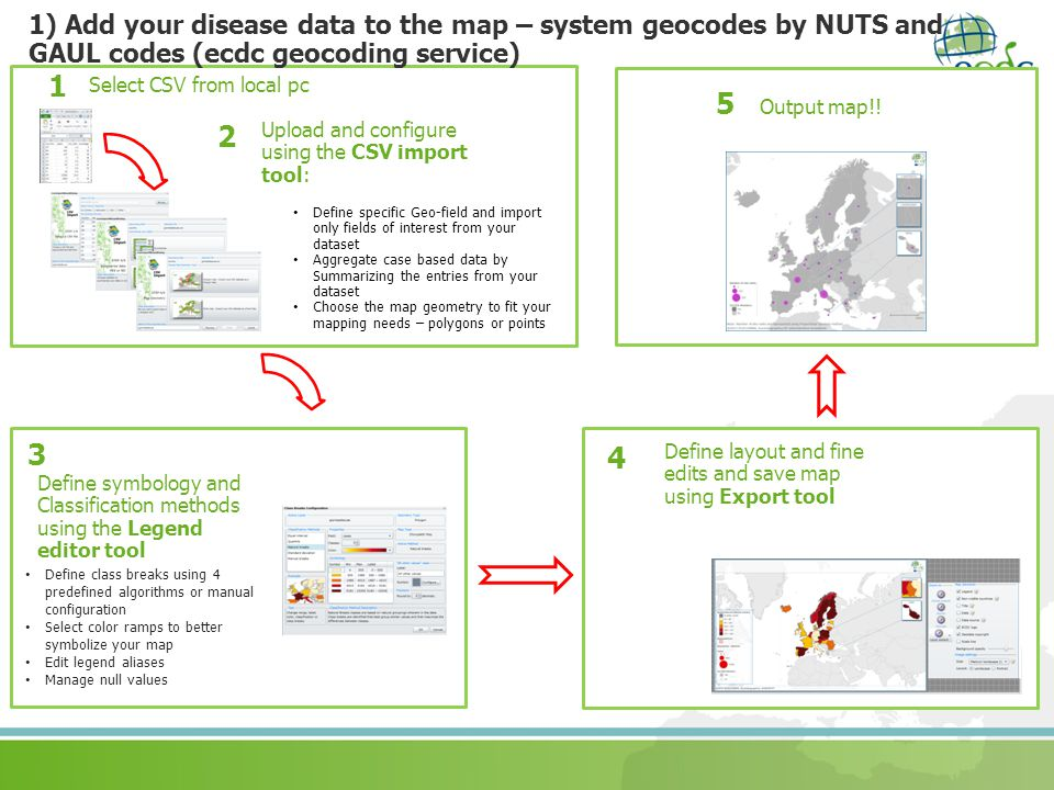 1) Add your disease data to the map – system geocodes by NUTS and GAUL codes (ecdc geocoding service)