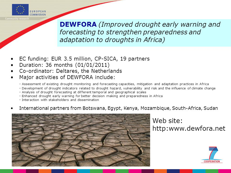 4/6/2017 DEWFORA (Improved drought early warning and forecasting to strengthen preparedness and adaptation to droughts in Africa)