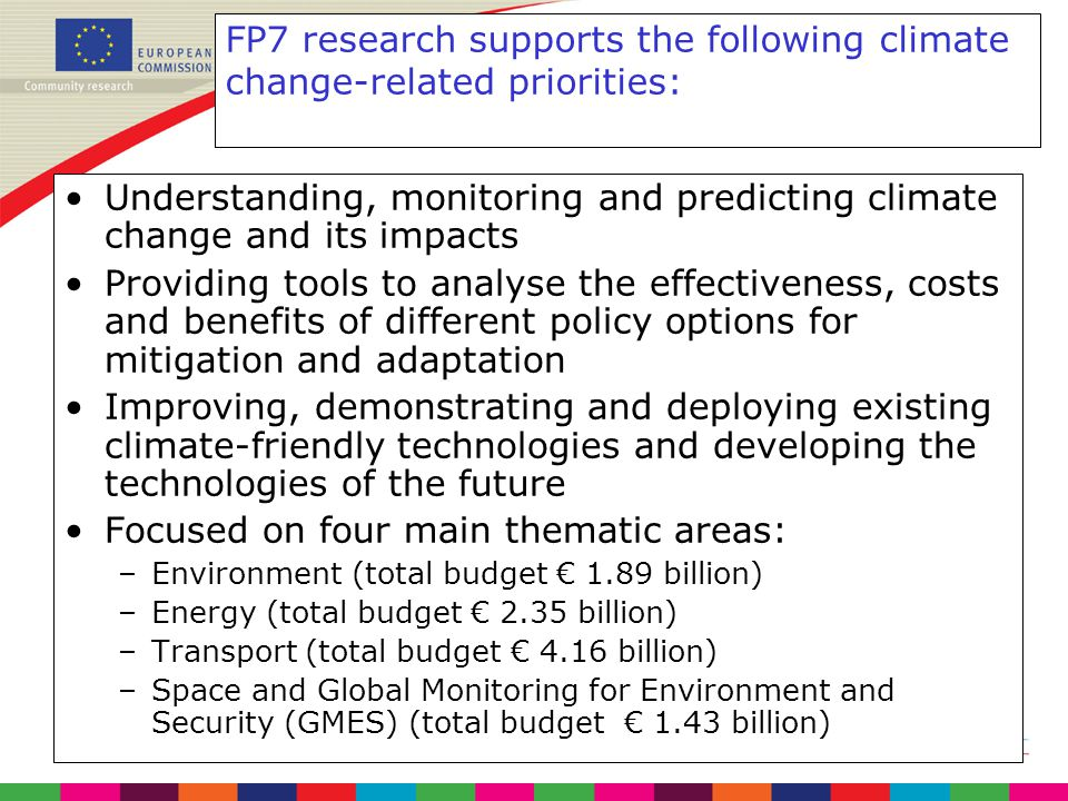 FP7 research supports the following climate change-related priorities: