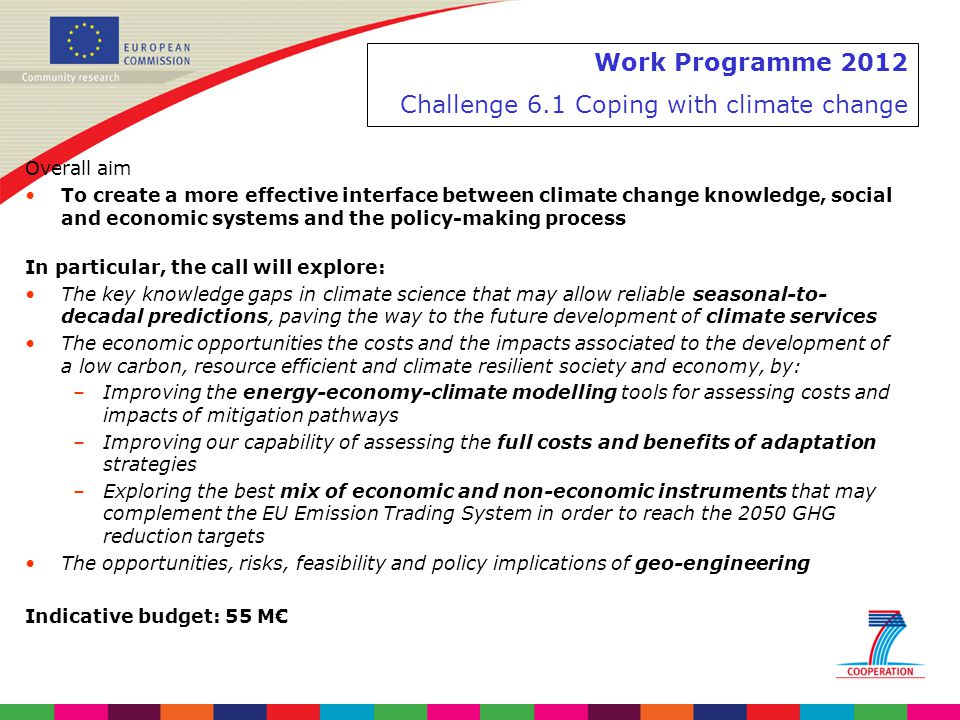 Work Programme 2012 Challenge 6.1 Coping with climate change