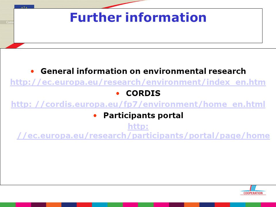 Further information General information on environmental research