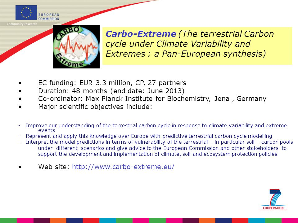 Carbo-Extreme (The terrestrial Carbon cycle under Climate Variability and Extremes : a Pan-European synthesis)