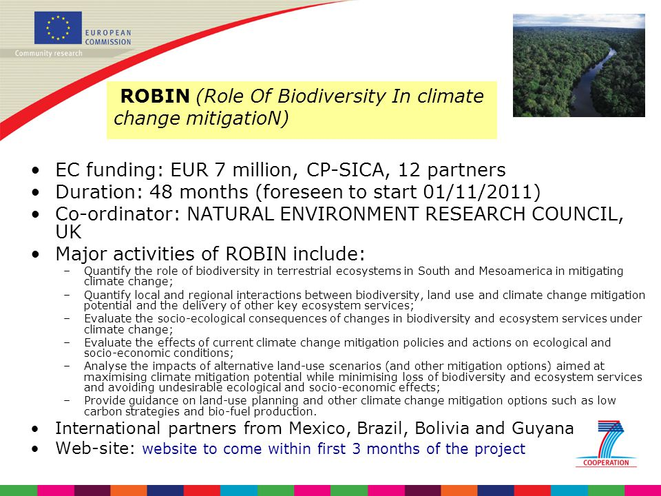 ROBIN (Role Of Biodiversity In climate change mitigatioN)