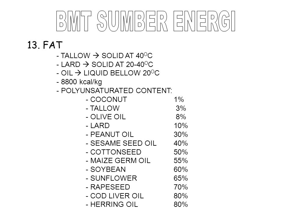 BMT SUMBER ENERGI 13. FAT - TALLOW  SOLID AT 40OC