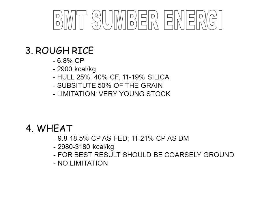 BMT SUMBER ENERGI 3. ROUGH RICE 4. WHEAT - 6.8% CP - 2900 kcal/kg