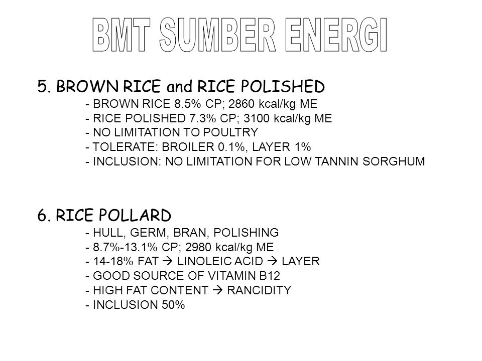 BMT SUMBER ENERGI 5. BROWN RICE and RICE POLISHED 6. RICE POLLARD