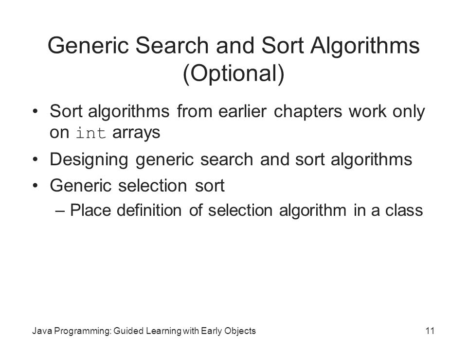 Generic Search and Sort Algorithms (Optional)