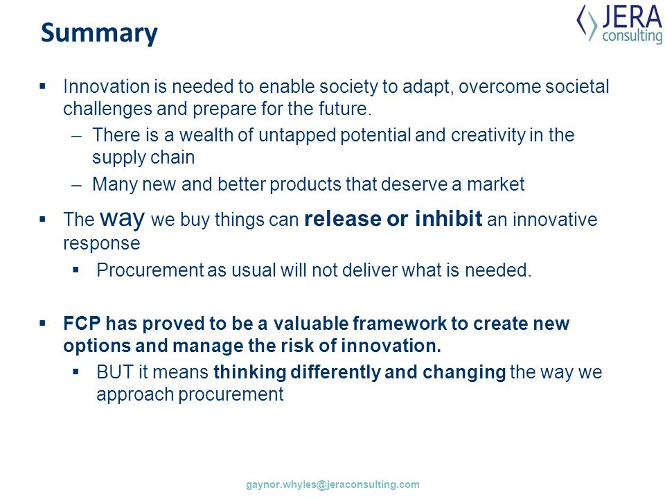 Summary Innovation is needed to enable society to adapt, overcome societal challenges and prepare for the future.